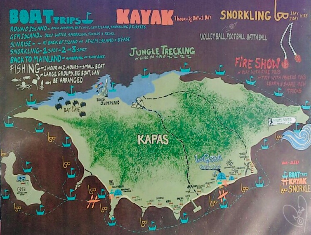 Hand painted Map of Kapas Island